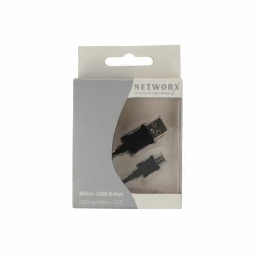 Networx Kabel Micro-USB auf USB Daten-und Ladekabel schwarz