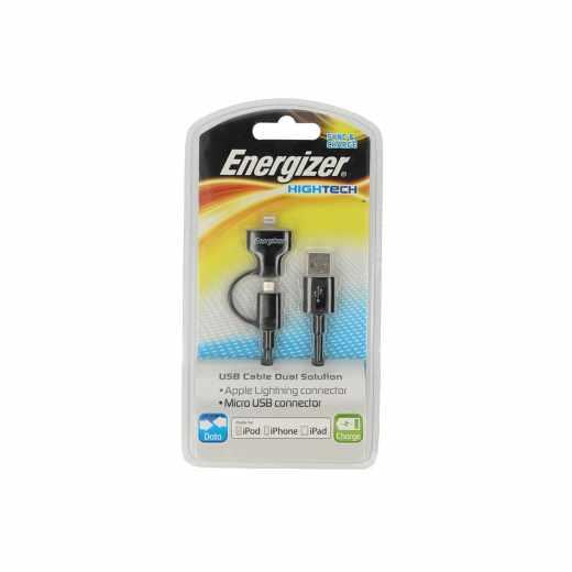 Energizer Lightning Micro USB auf USB Kabel Charge für Apple schwarz
