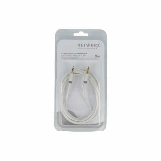 Networx Audio-Anschlusskabel 3,5 mm Stereo Klinke/Klinke 2 Meter weiß - neu