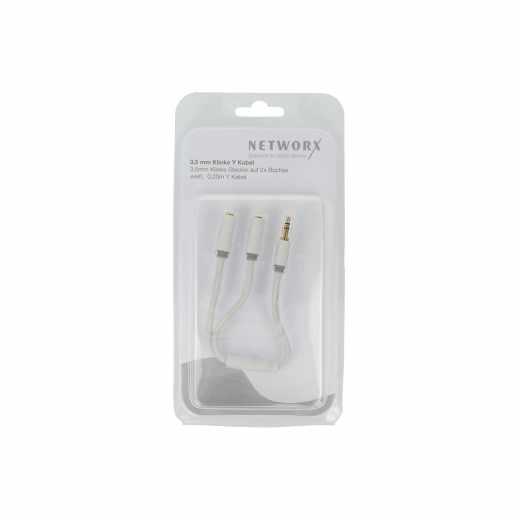 Networx Audio Splitter Kabel Klinke/2x Buchse, 0,2 Meter weiß