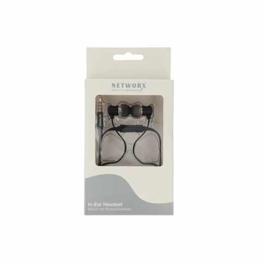 Networx In-Ear-Headset Kopfhörer mit flachem Kabel 3,5mm Klinke schwarz - neu