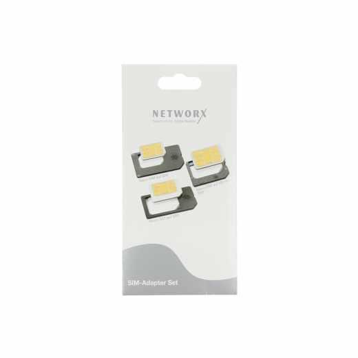 Networx SIM Adapter Set  für Mikro- und Nano-SIM-Karten schwarz