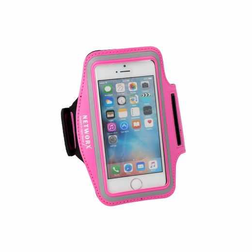 Networx Universal Sportarmband S Neoprenband für Smartphone Halterung pink - neu