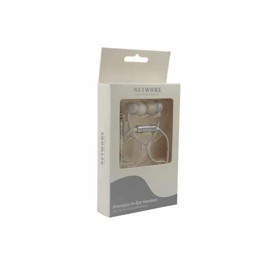 Networx Premium In-Ear-Headset Keramik Ohrhörer Kopfhörer Musik Handy weiß
