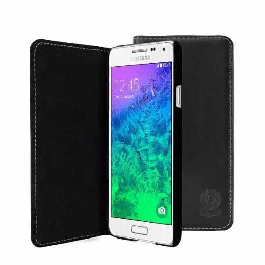 bugatti BookCover Oslo Handy Klapphülle für Samsung Galaxy Alpha schwarz - neu