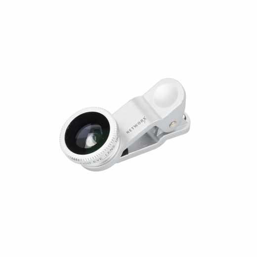 Networx 3-in-1 Linse Kameraobjektiv für Smartphones/Tablets Weitwinkel silber - neu
