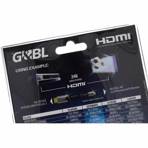 G&BL High Speed HDMI-Mikrokabel mit Ethernet-Kanal Länge 0,60 m schwarz