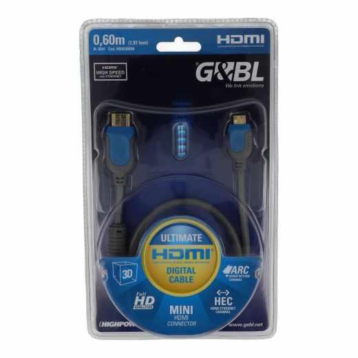 G&BL HD4530E06 HDMI High Speed Kabel A/C mit Ethernet-Kanal 0,6 m dunkelgrau
