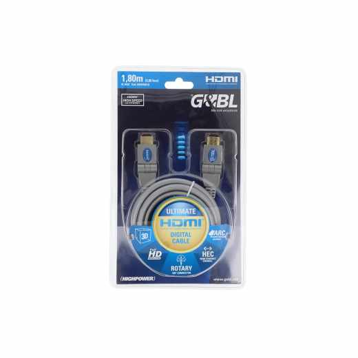 G&BL HDMI Kabel Ultimate 180 Grad 1,8 m High Speed HDMI 19-polig Stecker silber
