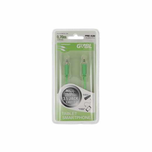 G&BL Kabel Stereo Audio Super Soft 3,5mm Klinke auf 3,5mm - 0,7m lang, grün