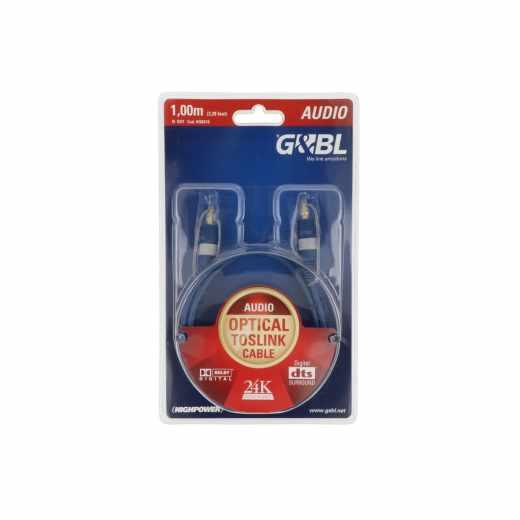 G&BL Opto-digital Kabel Tosllink blau 1,0m 24 Karat goldplatiniert