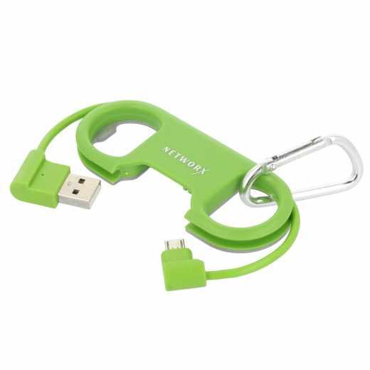 Networx Flaschenöffner mit USB-auf-Micro-USB-Kabel - grün