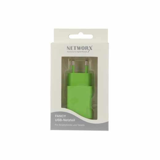 USB Netzteil Ladegerät Adapter Netzstecker Handy Smartphone grün - wie neu