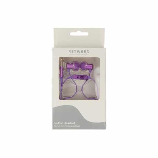 Networx In-Ear-Headset Kopfhörer Kabel, 3,5 mm Klinke lila - neu