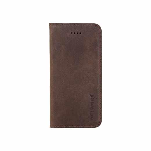 Networx Leder BookCase Cover Schutzhülle Tasche  für iPhone SE Kabuk antikbraun