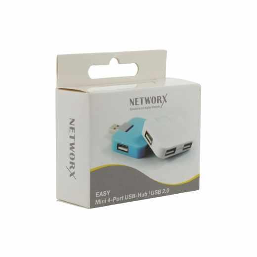 Networx Easy USB 2.0 4-Port Hub Verteiler-Adapter 1xStecker 4xBuchse weiß - neu