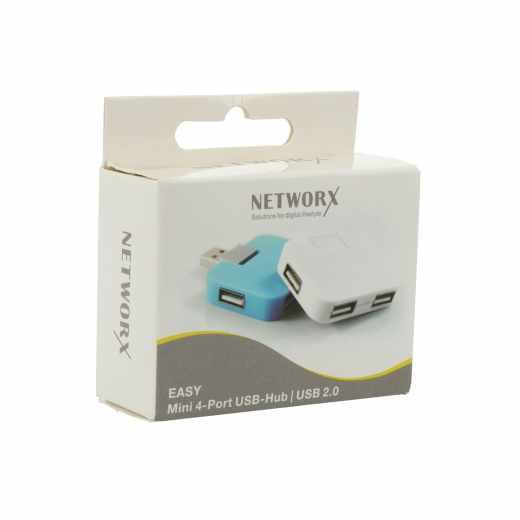 Networx Easy Mini USB 2.0 4 Port Hub Adapter Verteiler grün - neu
