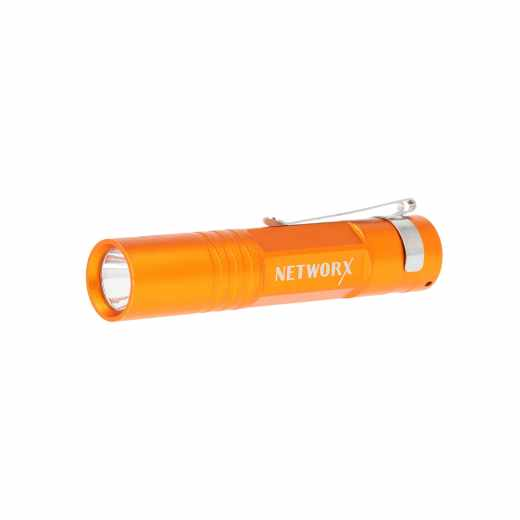 Networx Taschenlampe Flash Lihght FL-70, orange, LED Licht mit Clip