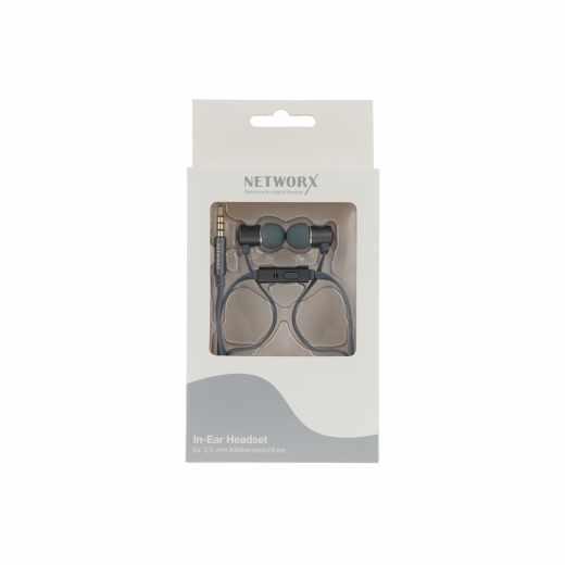 Networx In-Ear-Headset Kopfhörer Ohrhörer Musik Handy flach12 Gramm grau - neu