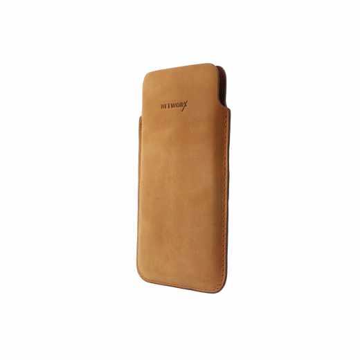 Networx Universal Ledertasche M  Smartphones bis 5,2 Zoll Etui Schutzhülle braun