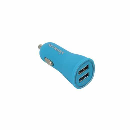 Networx Fancy KFZ-Ladegerät für Smartphone Tablet Zigarettenanzünder 2x USB blau - neu
