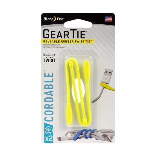 Nite Ize Gear Tie Spannriemen Kabelbinder Größe 6 2er Pack gelb