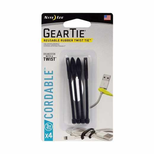 Nite Ize Gear Tie Spannriemen Kabelbinder Größe 3 4er Pack schwarz - neu