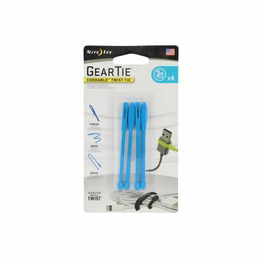 Nite Ize Gear Tie Spannriemen Kabelbinder Größe 3 4er Pack blau - neu