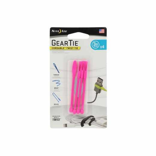 Nite Ize Gear Tie Kabelbinder Size 3 4er Pack Organizer Smartphones pink - neu