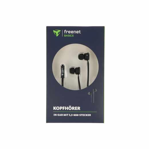 freenet Basics InEar Headset Kopfhörer 3,5 mm schwarz