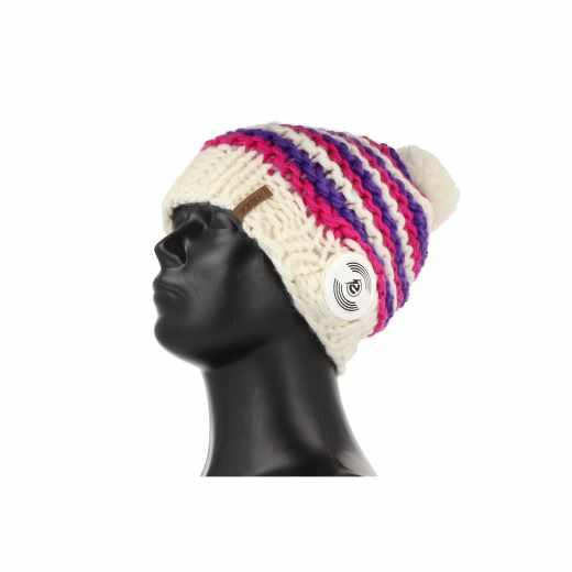 Earebel Handmade Strickmütze Beanie Kopfhörer StereoHeadset weiß lila - neu