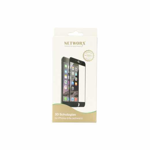 Networx 3D Handy Schutzglas für Apple iPhone 6/6s Kratz- Stoßfest schwarz - neu