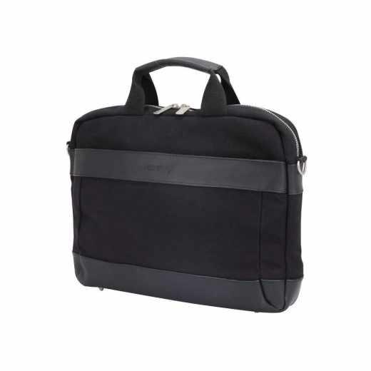 Networx Raven Briefcase Aktentasche MacBook bis 13 Zoll Canvas Leder schwarz - neu