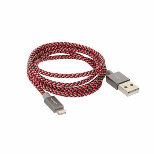 Networx Fancy 2.0 Lightning USB Daten und Ladekabel 1 m rot schwarz weiß - neu