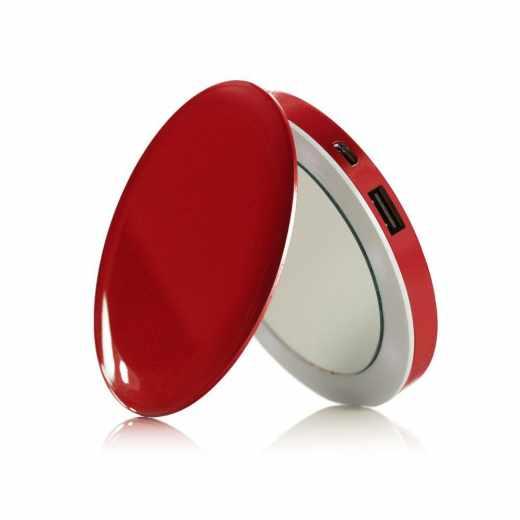 Hyper Pearl MakeUp Mirrow Taschenspiegel mit Powerbank 3000 mAh rot - neu