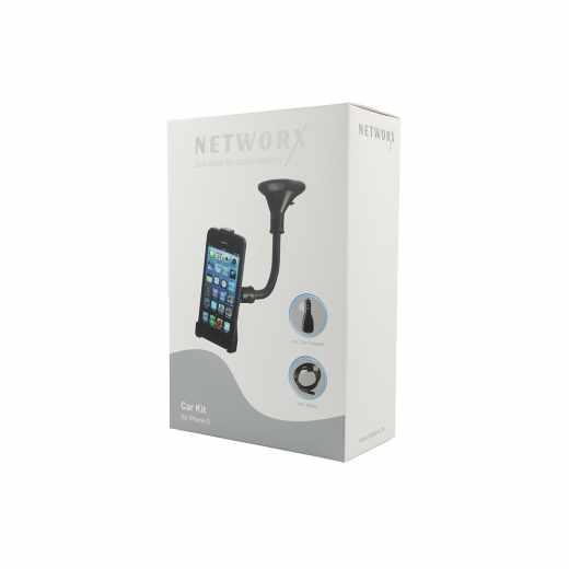 Networx Kfz-Halterung CarKit für iPhone 5/5s mit Car Charger und Kabel schwarz - wie neu