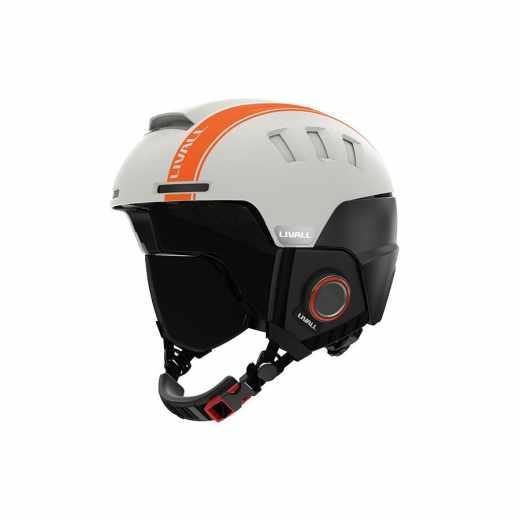 Livall RS1 Helm, Skihelm Snowboardhelm 57-61cm Headset Bluetooth WalkieTalkie sandweiß