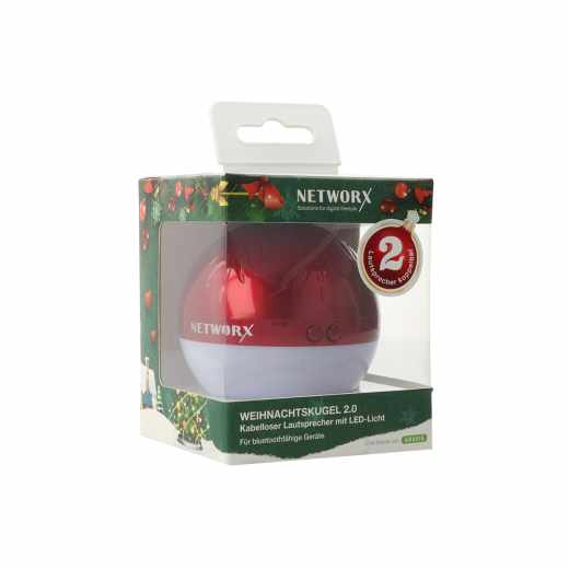 Networx TUNE LED Bluetooth Christmas Ball Weihnachtskugel Leuchtkugel Weihnachtsmelodien rot - neu