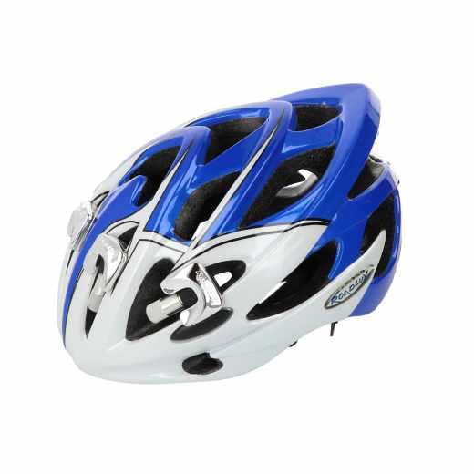 Roadluxhelm Gr.M (54-58cm) Fahrradhelm LED-Leuchten Helm blau/weiß - neu