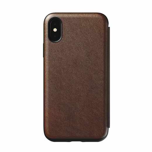 Nomad Tri-Fold Folio S Hülle Geldbörse iPhone X Schutzhülle braun - sehr gut