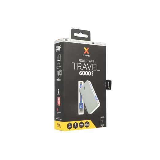 Xtorm Power Bank Travel 6000mAh Ladestation Akku USB Micro-USB Kabel grau - sehr gut