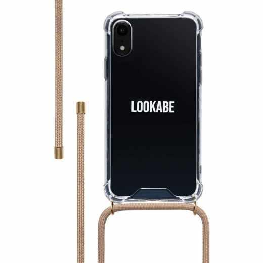 LOOKABE Necklace Case Tasche für iPhone XR Handykette mit Handyhülle beige