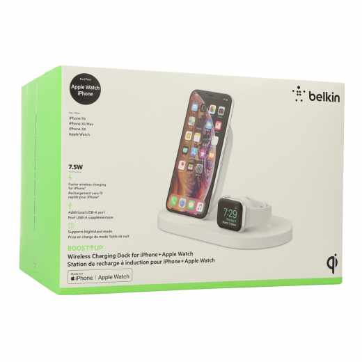 Belkin Boost Up Wire Dock iPhone Watch drahtlose Ladestation Docking weiß - sehr gut