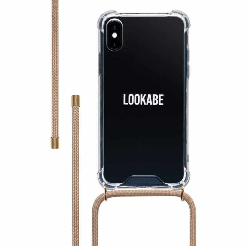 Lookabe iPhone X/Xs Handykette Nude mit Clear Case