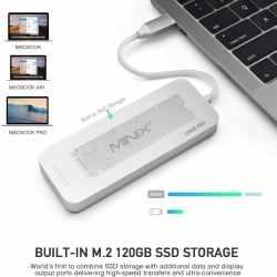 MINIX USB-C Multiport SSD Storage Hub 120GB NEO-Speicher grau - neu