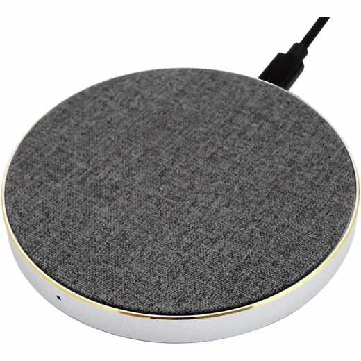 Networx Wireless Charger Stoffbezug Qi-Ladepad Induktionsladegerät grau