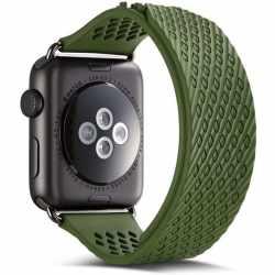 Networx Silicon Watch Strap Ersatzarmband für Apple Watch 44 mm grün schwarz - neu