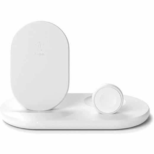 Belkin 3-in-1 Wireless Ladestation Ladegerät kabelloses Ladedock weiß - wie neu