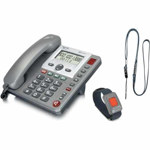 amplicomms PowerTel 97 Großtastentelefon Alarmsender Festnetztelefon grau - wie neu