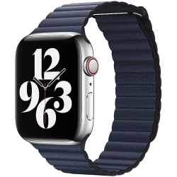Apple Watch Leather Loop Lederarmband 44mm Medium blau